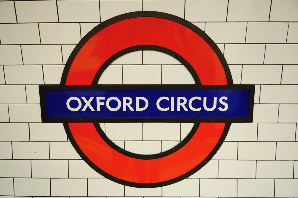 Stock Photo: 4282-2377 England, London, Oxford Circus. Oxford Circus Underground station symbol.