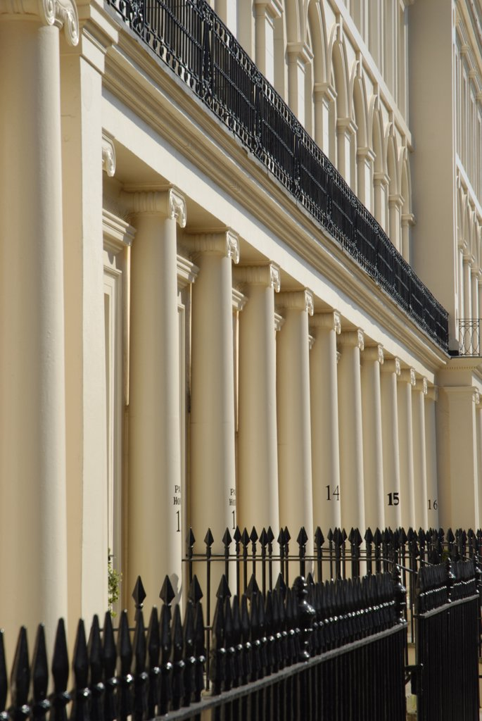 Stock Photo: 4282-23787 England, London, Westminster. Rows of stone columns belonging to houses designed by John Nash in Park Square East.