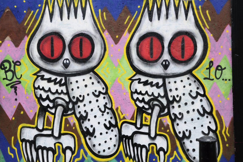Stock Photo: 4282-2387 England, London, Near Brick Lane. Graffiti depicting two owls just off Brick Lane in London's east end.