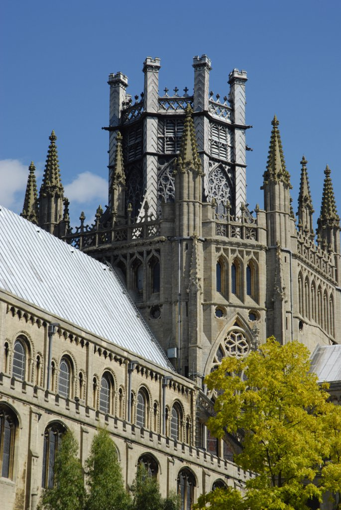 England, Cambridgeshire, Ely. A south view of Ely Cathedrals Octagon Tower. : Stock Photo