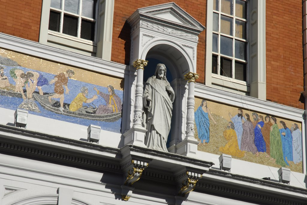 Stock Photo: 4282-24059 England, London, Clerkenwell . Detail of St Peter's Italian Church in Clerkenwell Road.