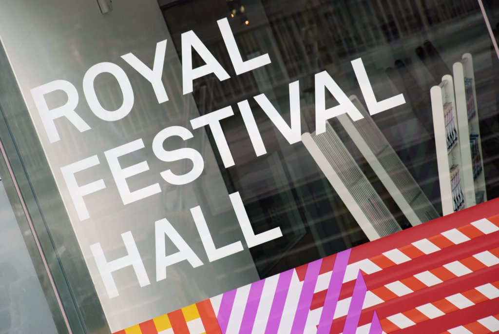 Stock Photo: 4282-24070 England, London, South Bank. Royal Festival Hall sign at the South Bank Centre.