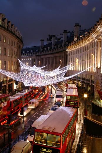 England, London, Regent Street. Christmas lights on Regent Street. : Stock Photo
