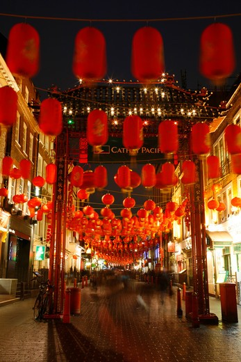 England, London, Chinatown. Paper lanterns hanging during Chinese New Year in Gerrard Street. : Stock Photo
