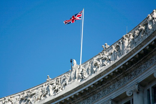 England, London, Regent Street. Britannia with the Wealth of East and the West frieze on the top of the Liberty's department store on Regent Street. : Stock Photo