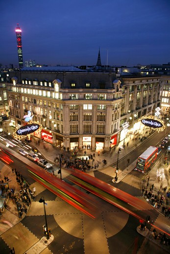 England, London, Oxford Circus. Rooftop view of Oxford Circus and Telecom Tower. : Stock Photo