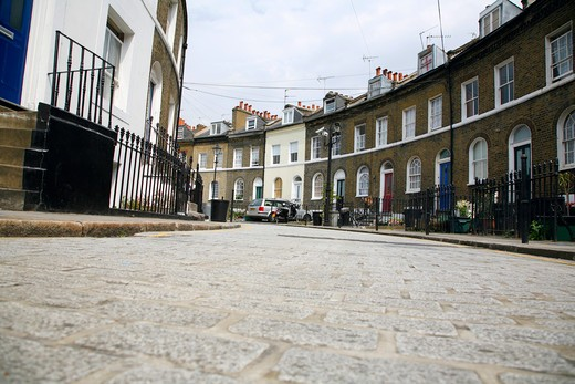 Stock Photo: 4282-24500 England, London, King's Cross. A view of Keystone Crescent at King's Cross.