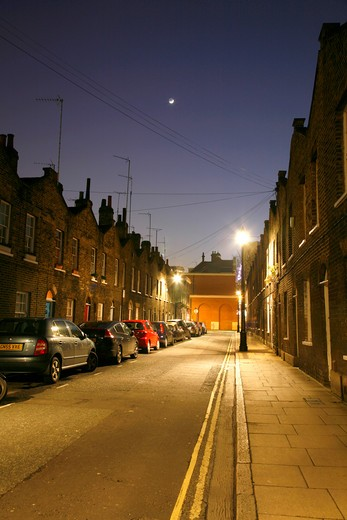 England, London, Waterloo. Crescent moon shining above Roupell Street in Waterloo. : Stock Photo
