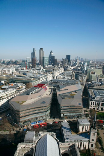 England, London, City of London. Elevated view from the Golden Gallery of St Paul's Cathedral over One New Change development to the heart of the City of London. : Stock Photo