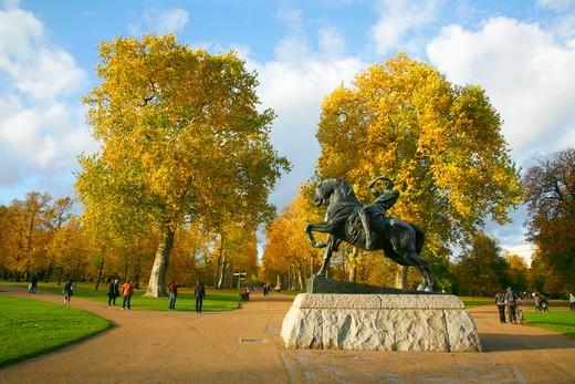 England, London, Kensington Gardens. Statue of Physical Energy in Kensington Gardens. : Stock Photo