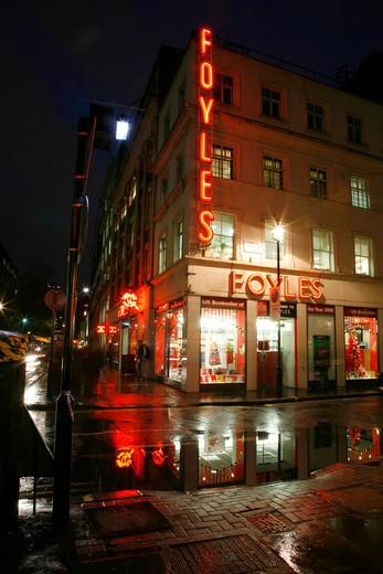 England, London, Soho. Foyles bookshop on Charing Cross Road at night. : Stock Photo
