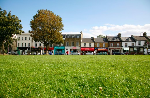 Stock Photo: 4282-24830 England, London, Wandsworth Common. A view of Bellevue Road in Wandsworth taken from Wandsworth Common.