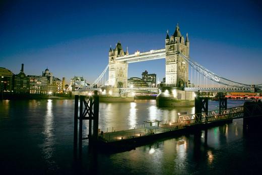 England, London, Tower Bridge. A view toward Tower Bridge at night. : Stock Photo
