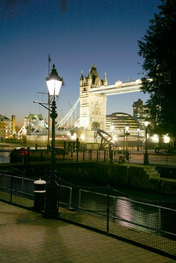 Stock Photo: 4282-24857 England, London, Tower Bridge. A view of Tower Bridge from St Katharine's Dock.