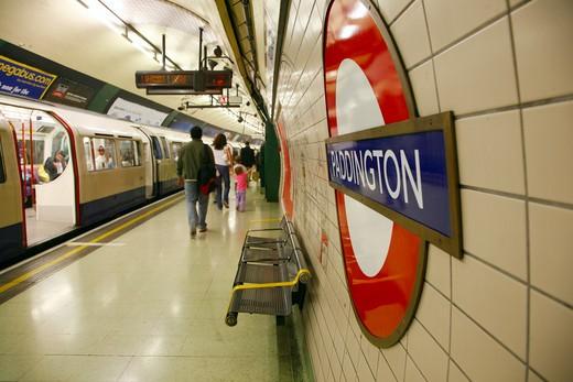 England, London, Paddington Underground Station. A Bakerloo Line train at Paddington underground station. : Stock Photo