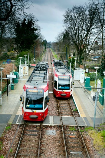 Stock Photo: 4282-24899 England, London, Morden. Tramlink trains at Morden Road station.