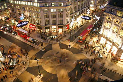 England, London, Oxford Circus. Aerial view of Oxford Circus in the West End. : Stock Photo