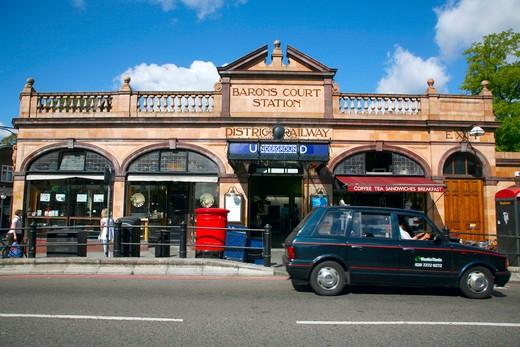 England, London, Barons Court Tube Station. Exterior of Barons Court tube station. : Stock Photo