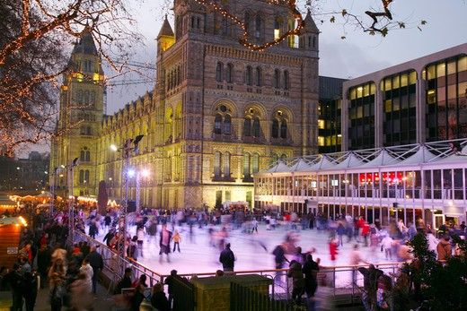 England, London, Natural History Museum. An ice skating rink outside the Natural History Museum. : Stock Photo