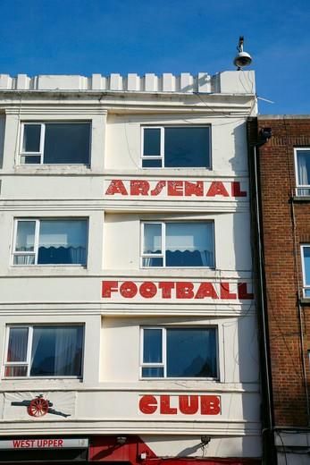 Stock Photo: 4282-24973 England, London, Highbury. Entrance to Arsenal's old Highbury football ground.