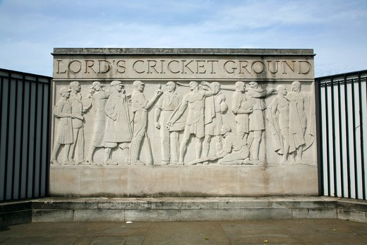 England, London, St John's Wood. Sporting frieze outside Lord's Cricket Ground in St John's Wood. : Stock Photo