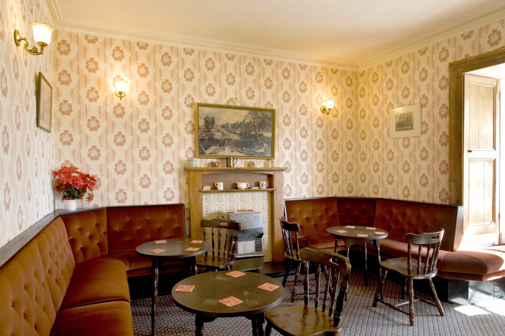Stock Photo: 4282-25154 Wales, Carmarthenshire, Llansteffan. Pub lounge at The Rose and Crown pub.