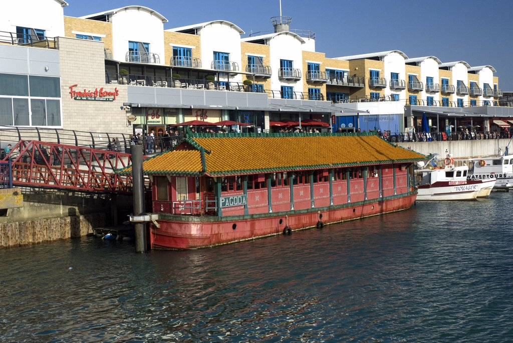 England, City of Brighton and Hove, Brighton. The Brighton Pagoda, a floating oriental restaurant and fine art gallery in Brighton Marina. : Stock Photo