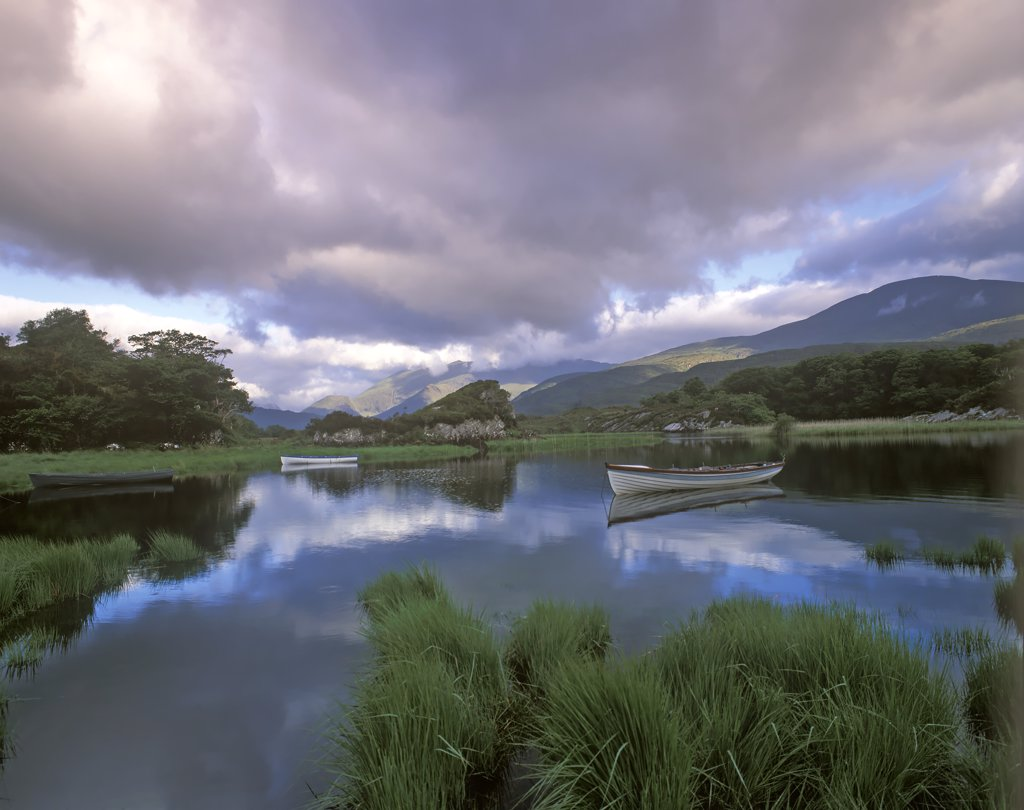 Stock Photo: 4282-2602 Republic of Ireland, County Kerry, Lake Killarney. Blue skies over Still Water Lake.
