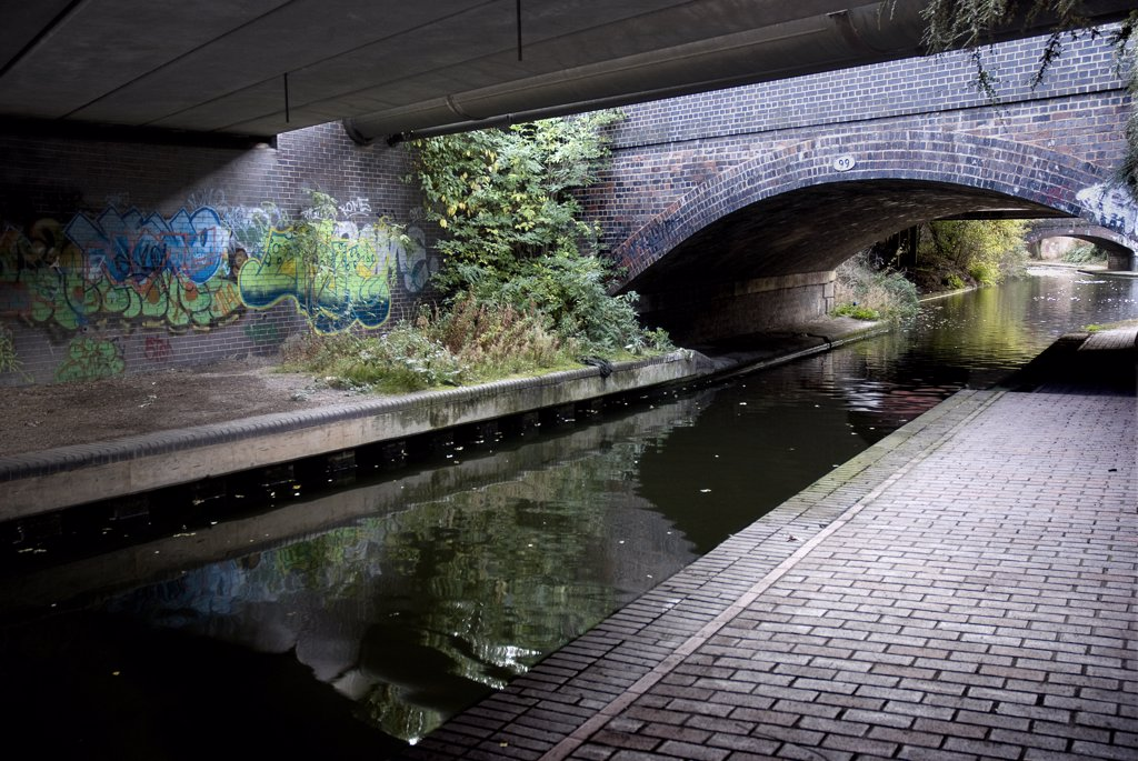 Stock Photo: 4282-26037 England, West Midlands, Birmingham. Grand Union canal near Bordersley Junction in Birmingham.