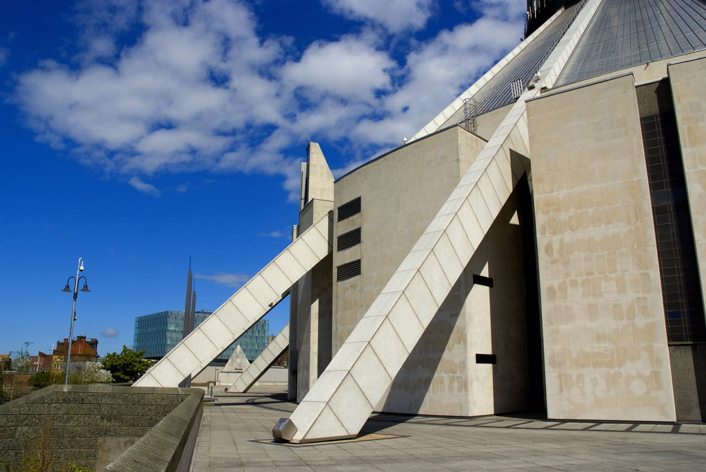 Stock Photo: 4282-26226 England, Merseyside, Liverpool. The exterior of Liverpool's Roman Catholic Metropolitan Cathedral dedicated to Christ the King.