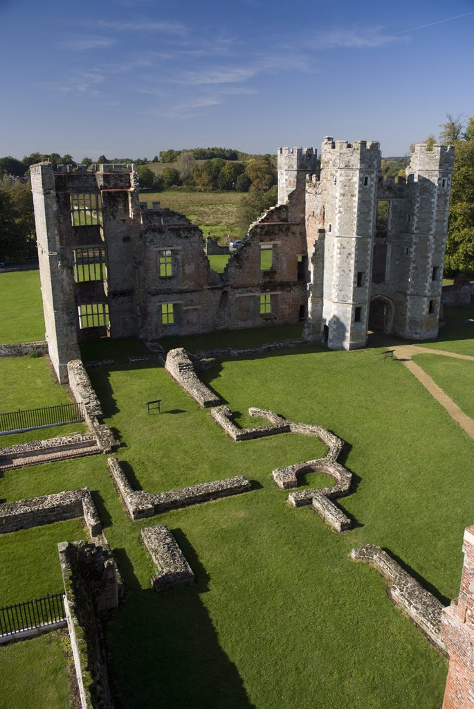 Stock Photo: 4282-26407 England, West Sussex, Midhurst. The ruins of Cowdray Ruins, one of Southern England's most important early Tudor courtier's palaces set in the grounds of Cowdray Park.