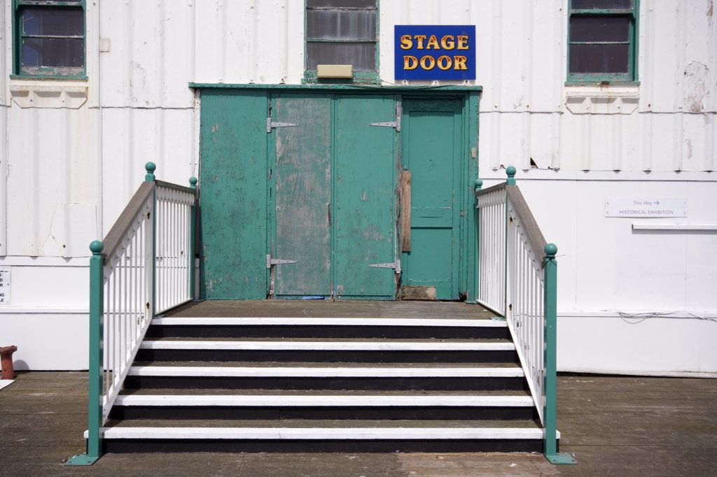 England, Lancashire, Blackpool. Stage Door on the North Pier at Blackpool. : Stock Photo