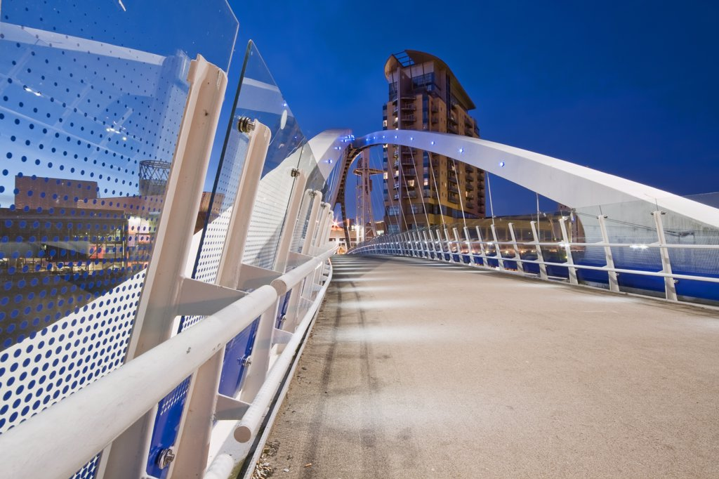 Stock Photo: 4282-26501 England, Greater Manchester, Salford Quays. The Millennium Bridge at Salford Quays.