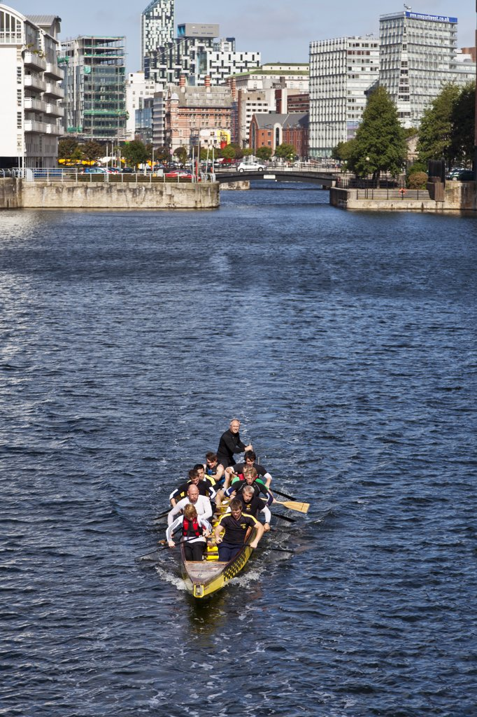 Stock Photo: 4282-26681 England, Merseyside, Liverpool. A Dragon boat training session in Wapping Dock.