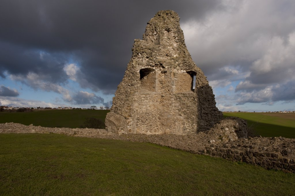 Stock Photo: 4282-26859 England, Essex, Hadleigh. Part of the remains of Hadleigh Castle, an impressive ruin of a fortress built over 700 years ago in Hadleigh Castle Country Park.