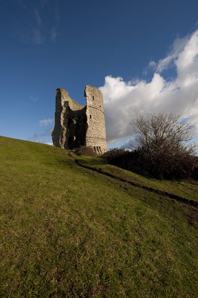 Stock Photo: 4282-26861 England, Essex, Hadleigh. The remains of a circular tower, part of the ruins of Hadleigh Castle in Hadleigh Castle Country Park.