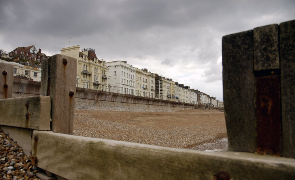 Stock Photo: 4282-27034 England, East Sussex, Hastings. View toward the promenade at Hastings on a cloudy day.