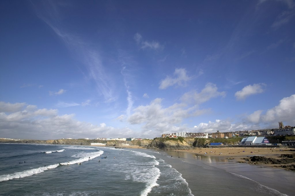 Stock Photo: 4282-27247 England, Cornwall, Newquay. A general view of Newquay Bay in Newquay.