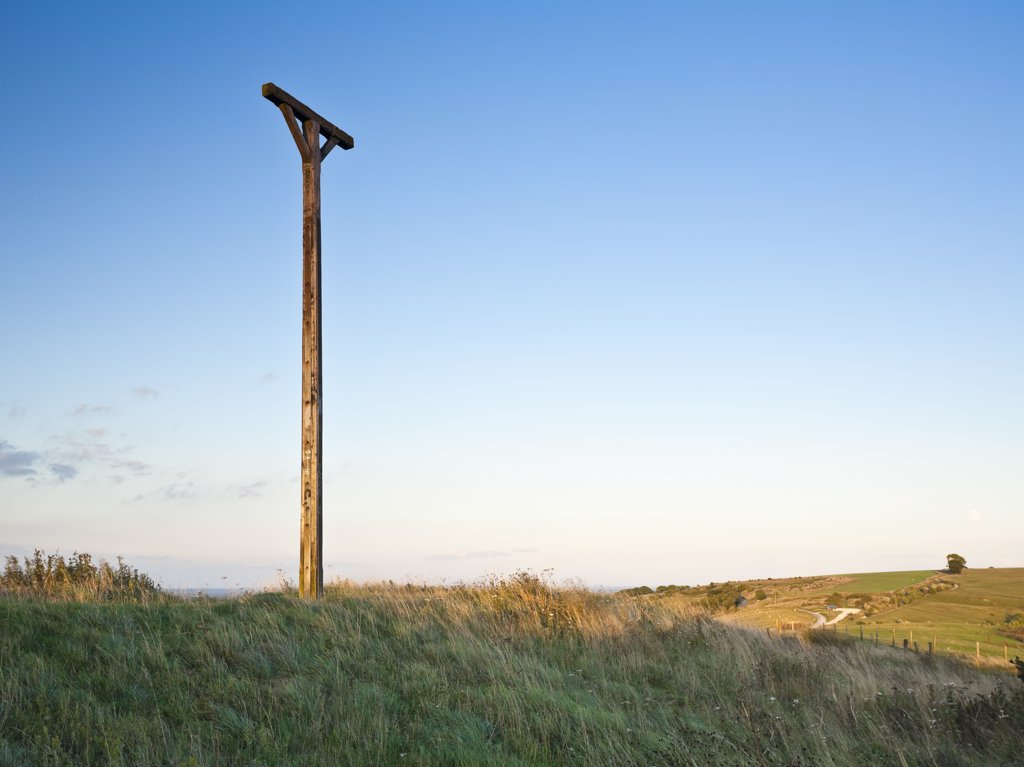 Stock Photo: 4282-27326 England, Berkshire, Newbury. Combe Gibbet on Gallows Down near Inkpen. It was erected in 1676 for the hanging of George Broomham and Dorothy Newman but has never been used since.