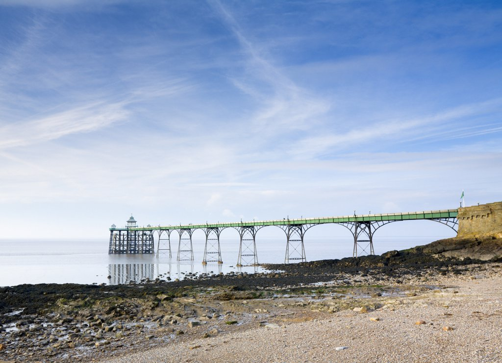 Stock Photo: 4282-27384 England, Somerset, Clevedon. Clevedon Pier on the English side of the Severn Estuary, one of the finest surviving Victorian piers in the country.