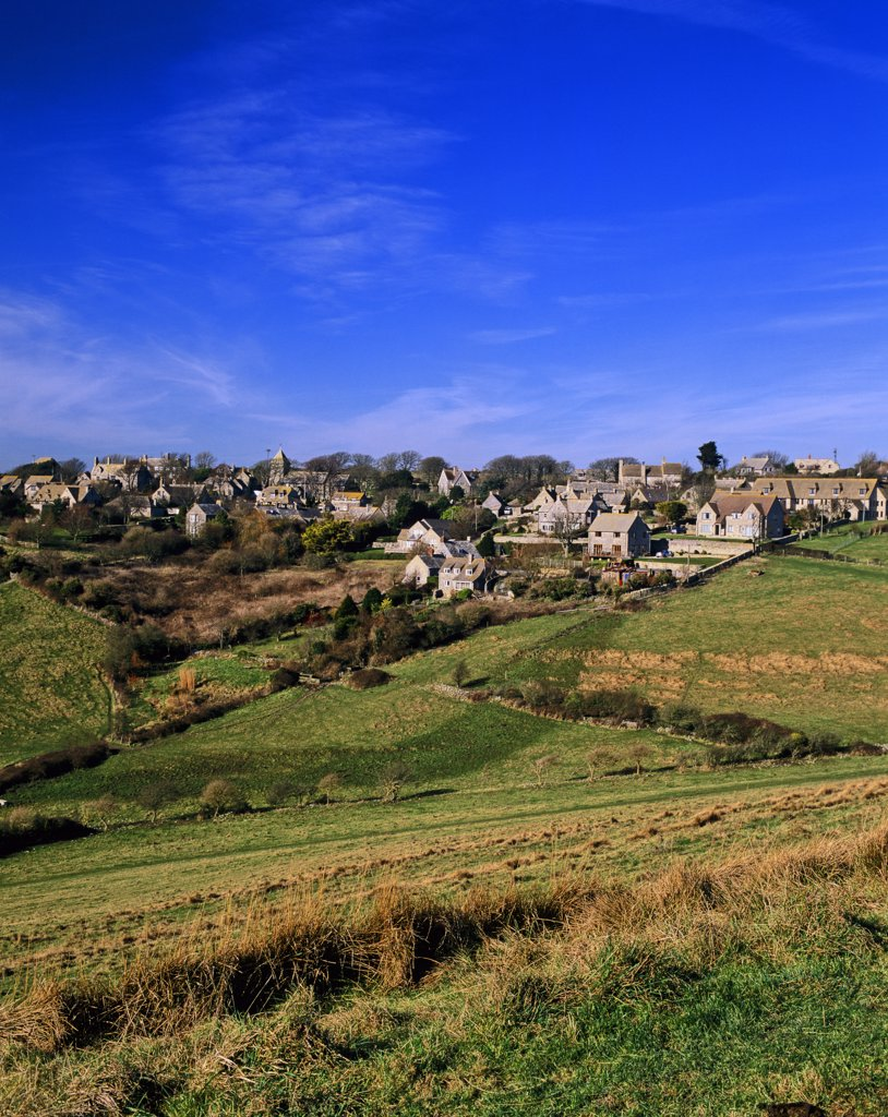 Stock Photo: 4282-27459 England, Dorset, Worth Matravers. View over the village of Worth Matravers on the Isle of Purbeck.