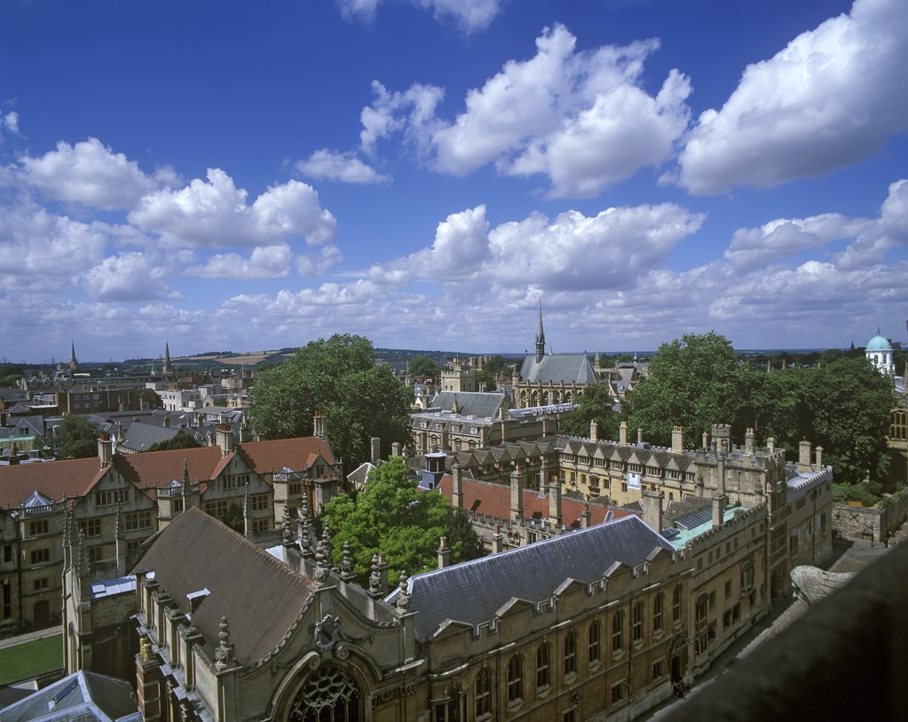 Stock Photo: 4282-2789 England, Oxfordshire, Oxford. Radcliffe Camera and All Soul's college from St. Mary's church tower.