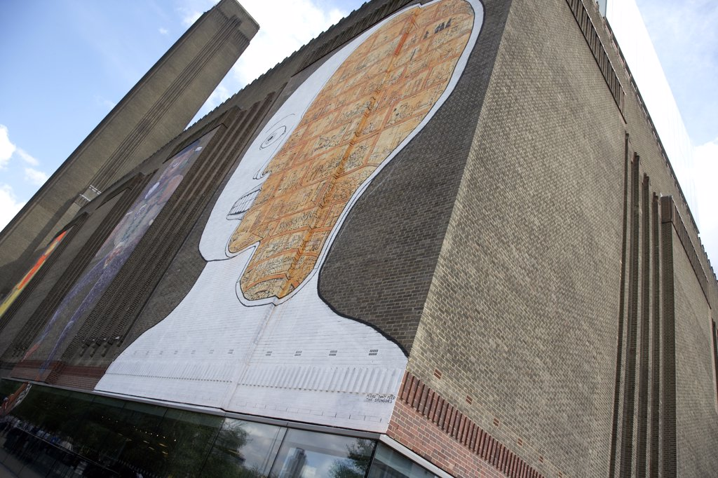 England, London, South Bank. Graffitti art on the exterior of Tate Modern. : Stock Photo