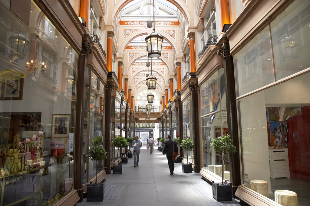 Stock Photo: 4282-28043 England, London, Mayfair. Interior view of the Royal Arcade.