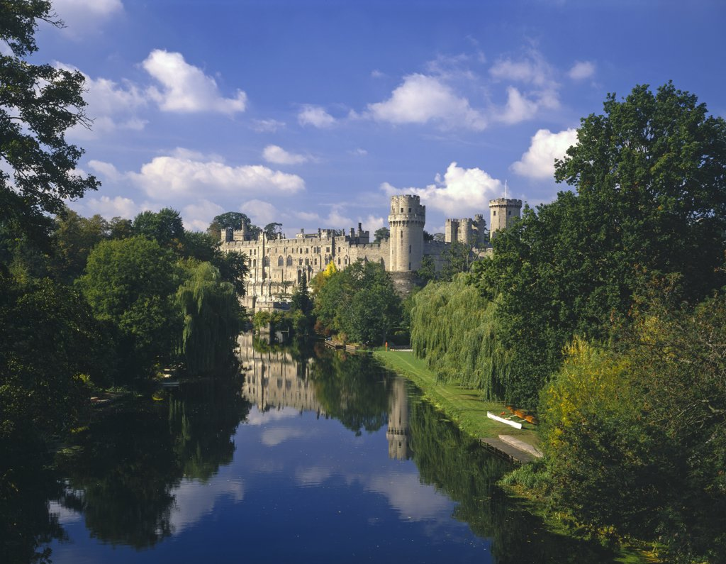Stock Photo: 4282-2816 England, Warwickshire, Warwick. Warwick Castle as seen along the River Avon.