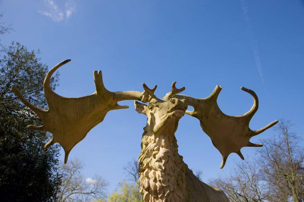 England, London, Crystal Palace. A close up of a statue of a stag in Crystal Palace. : Stock Photo