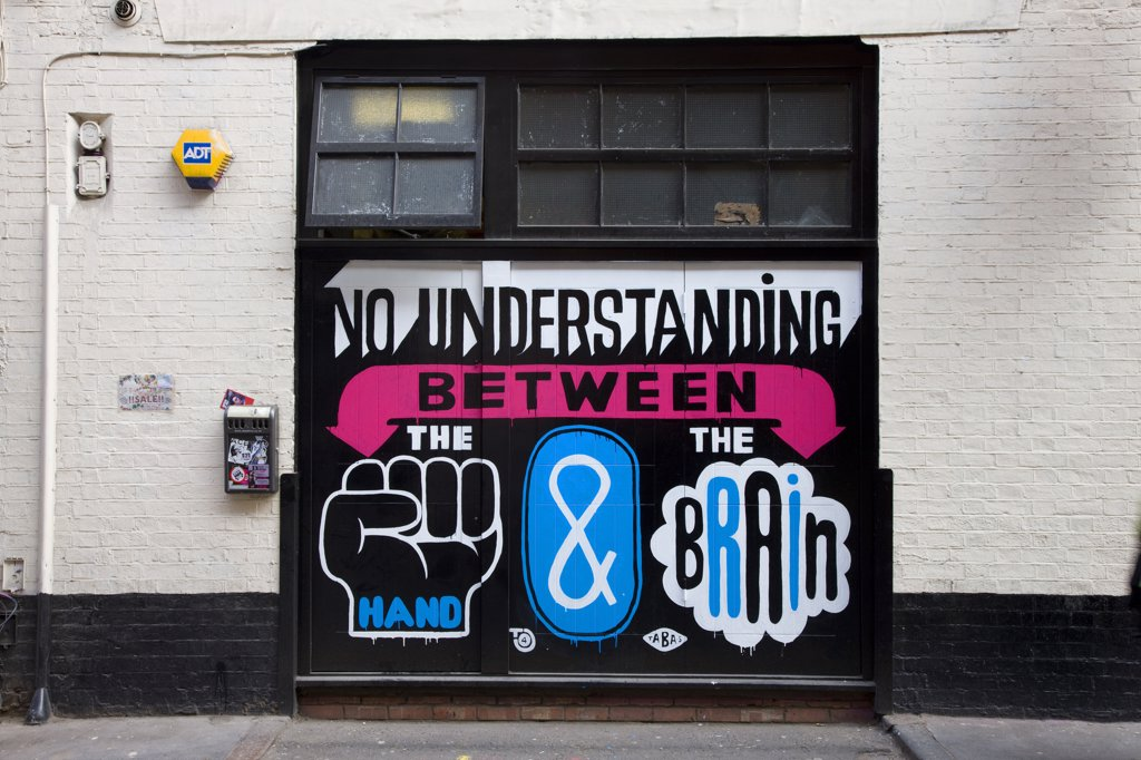 England, London, Shoreditch. Designed graffiti and large text on the side of a building in Shoreditch. : Stock Photo