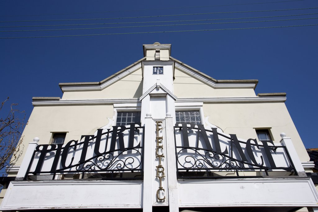 England, Suffolk, Southwold. The facade of The Southwold Electric Picture Palace, opened in 2002 following the style of the first Southwold cinema which began operating in 1912. : Stock Photo