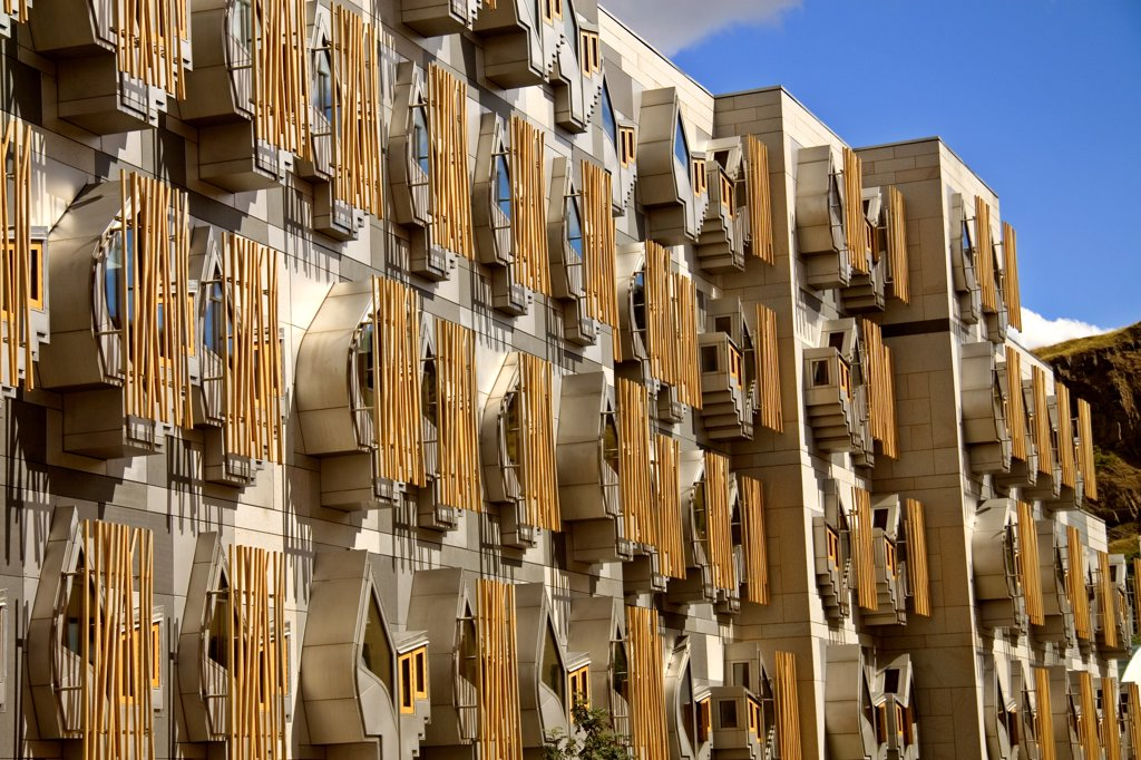 Stock Photo: 4282-28551 Scotland, Lothian, Edinburgh. Exterior of the Scottish Parliament building.