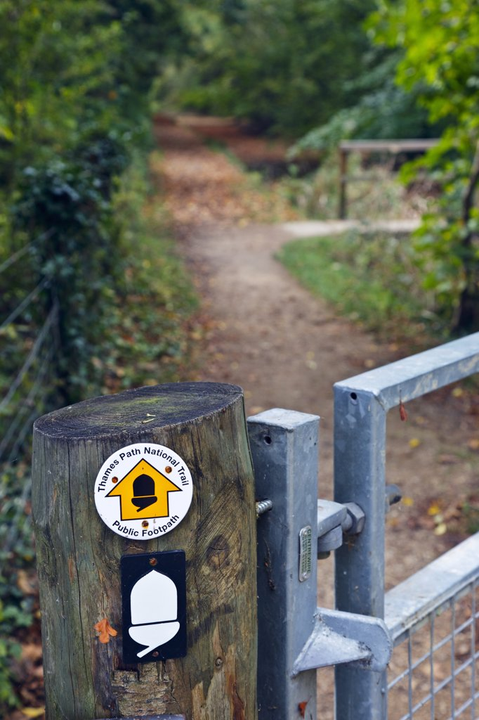 Stock Photo: 4282-28744 England, Gloucestershire, near Ashton Keynes. Thames Path National Trail sign on a wooden gatepost indicating the direction of the public footpath.